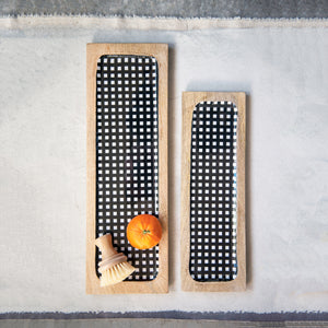 Pike Black + White Gingham Enamel Trays [Set of 2]
