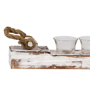 Boca Grande Distressed White Wood Votive Holder with Rope Accents
