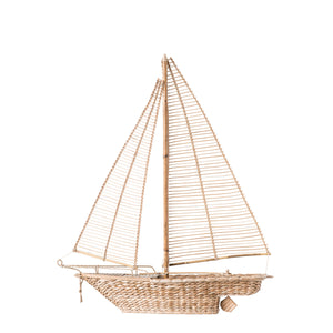 "36.75""H Nantucket Woven Rattan + Water Hyacinth Sailboat"