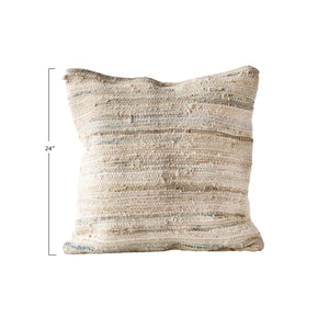 "Dune 24"" Sq. Neutral Recycled Cotton + Canvas Chindi Pillow"