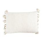 Load image into Gallery viewer, Nichols Cream Cotton Textured Lumbar Pillow with Tassels