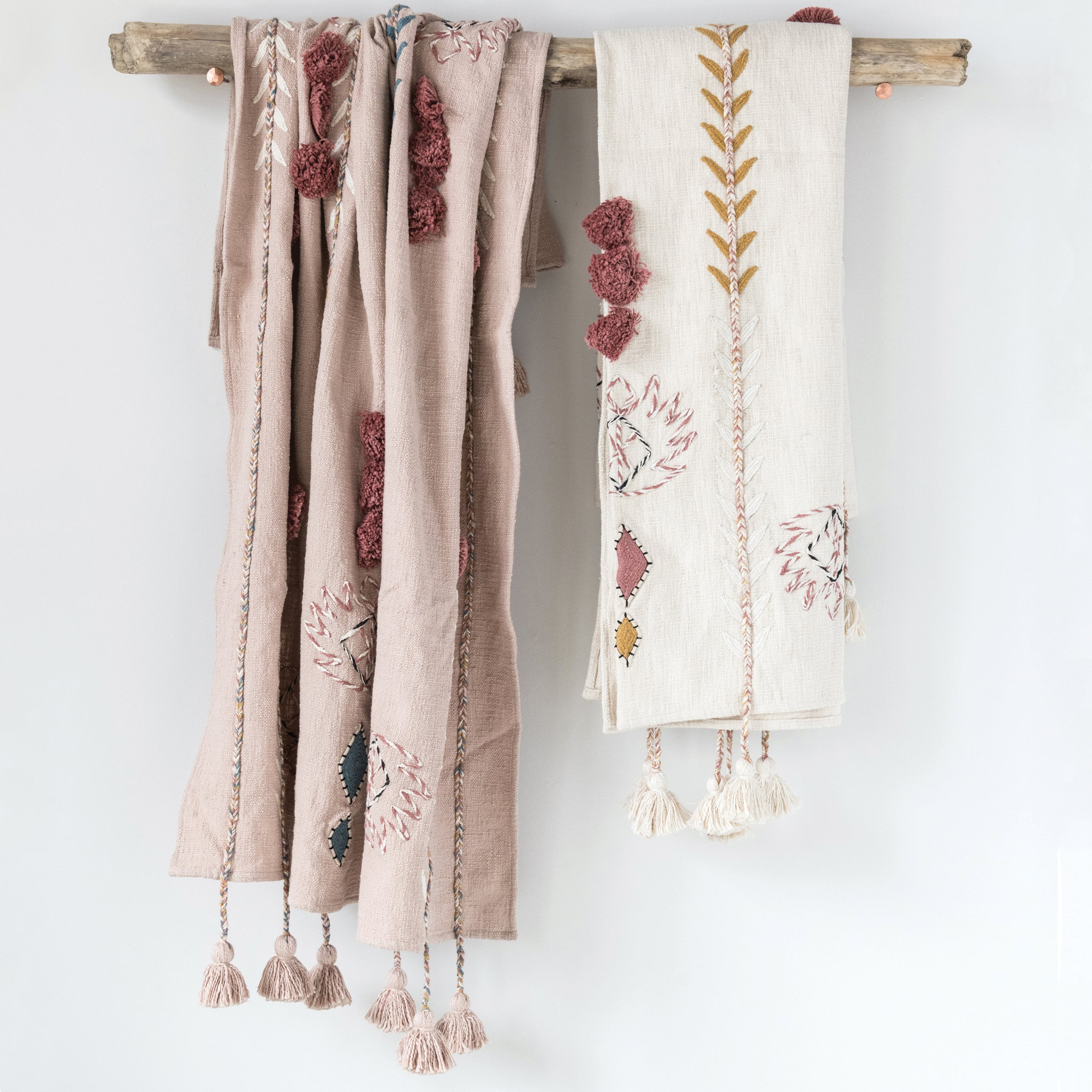 Willoughby Embroidered Cream Cotton Throw with Tassels