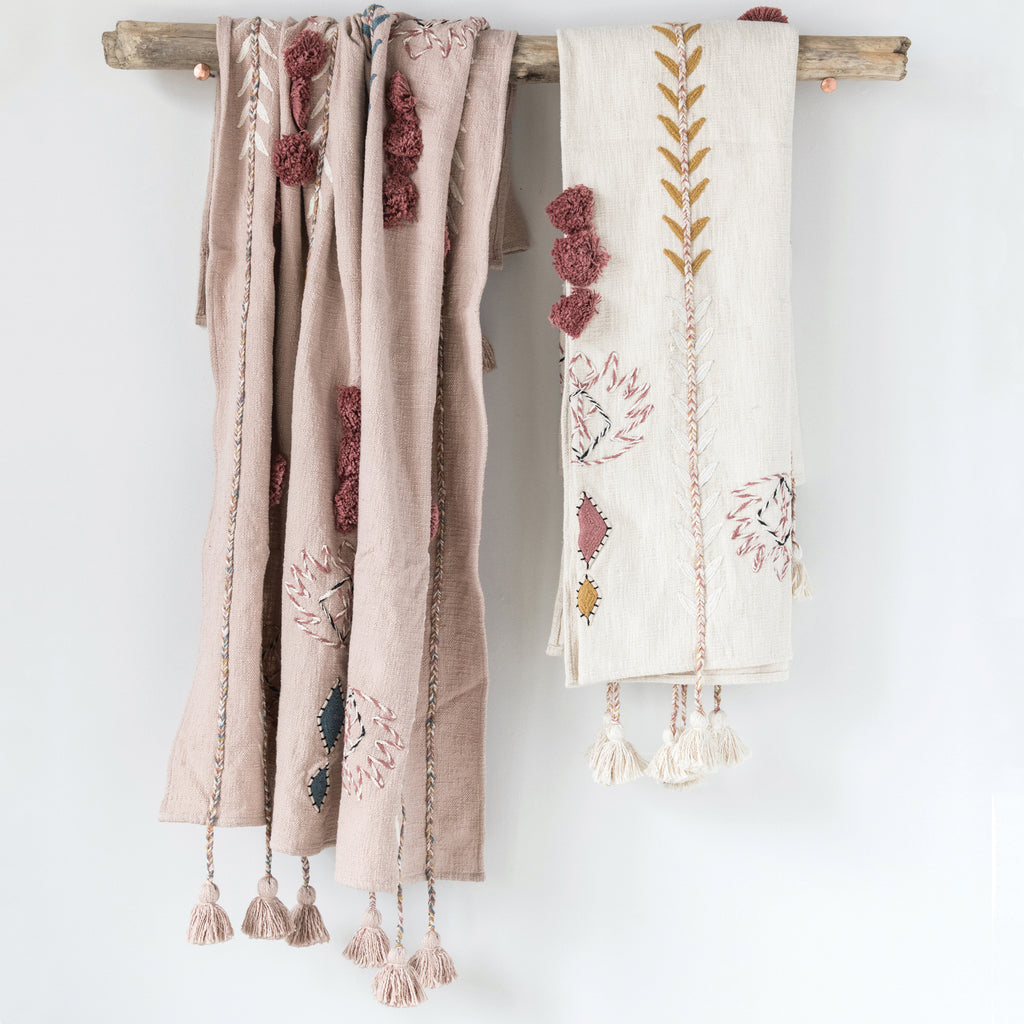 Willoughby Embroidered Pink Cotton Throw with Tassels