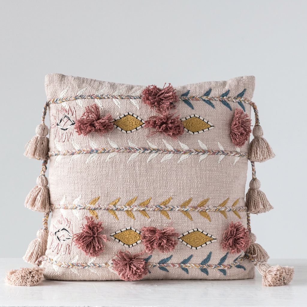 "Willoughby 20"" Sq. Embroidered Pink Cotton Pillow"