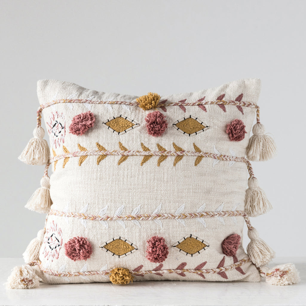 "Willoughby 20"" Sq. Embroidered Cream Cotton Pillow"