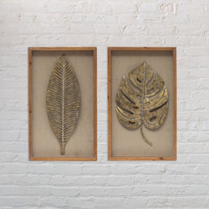 Weathered Gold Metal Palm Fronds Wood Shadowbox Set [Set of 2]