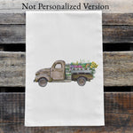 Load image into Gallery viewer, Personalized Vintage Green Truck Watercolor Design Flour Sack Tea Towel