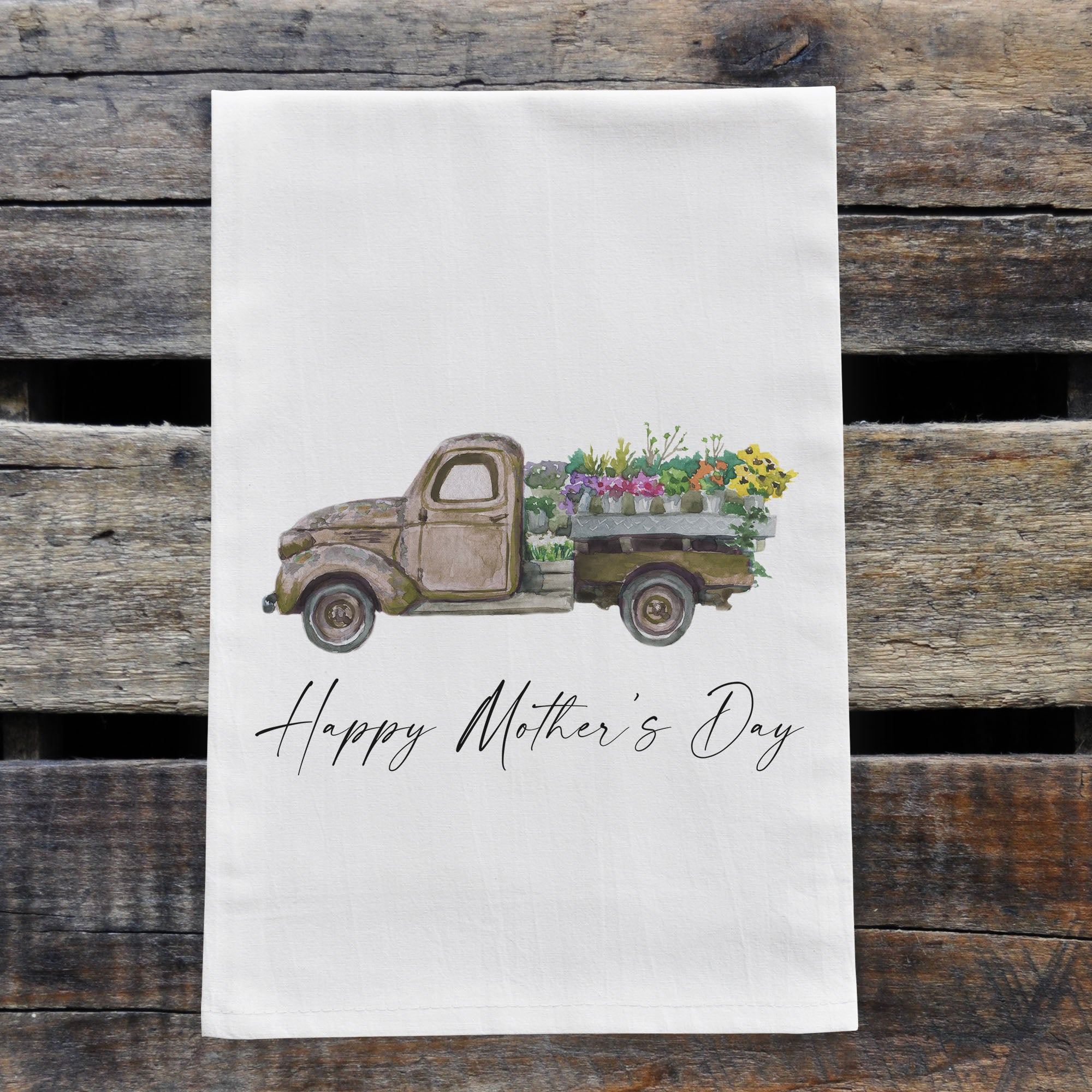 Personalized Vintage Green Truck Watercolor Design Flour Sack Tea Towel