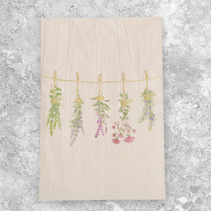 Personalized Drying Herbs Watercolor Design Flour Sack Tea Towel