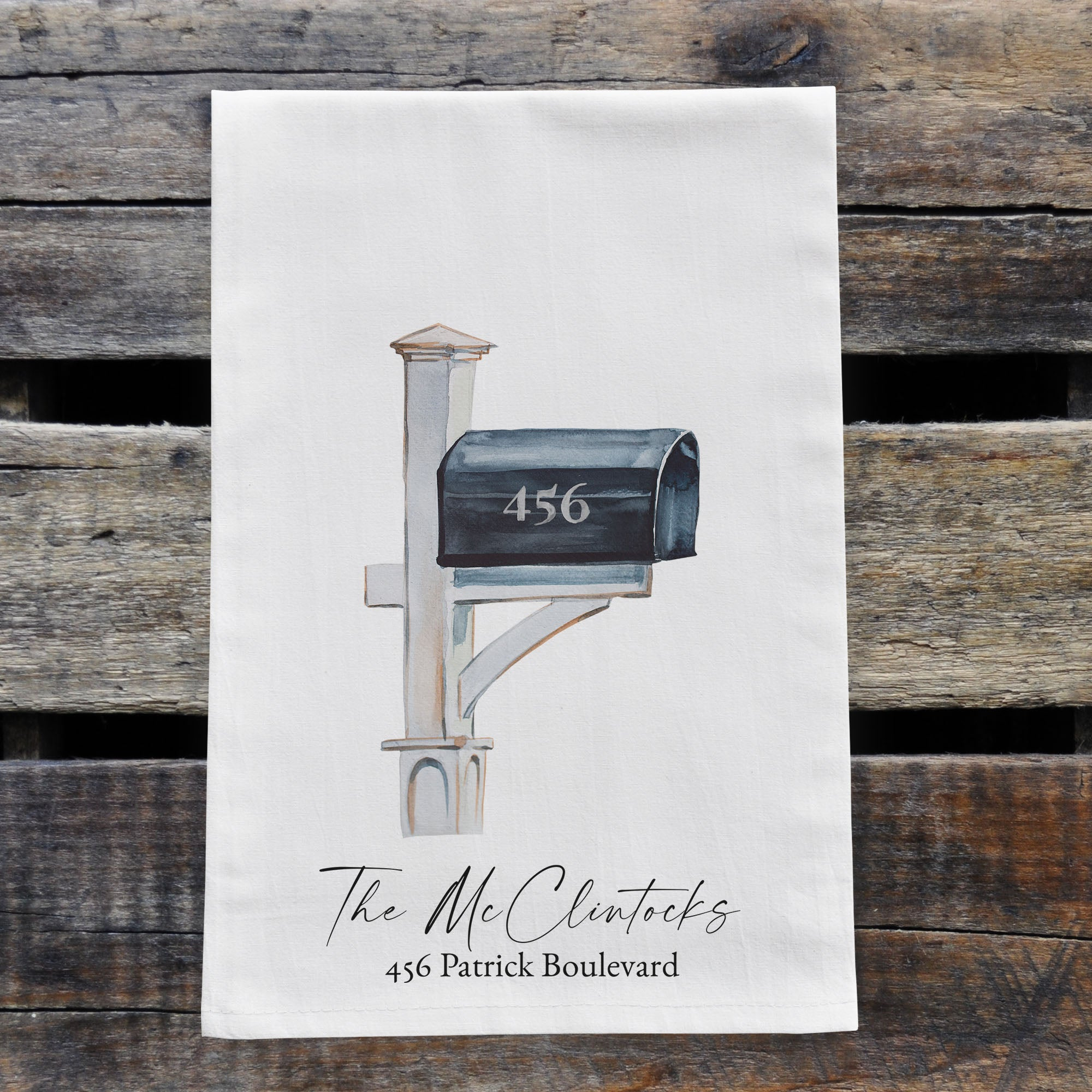 Personalized Mailbox Watercolor Design Flour Sack Tea Towel