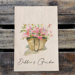 Load image into Gallery viewer, Personalized Wildflowers in Straw Market Bag Design Watercolor Design Flour Sack Tea Towel