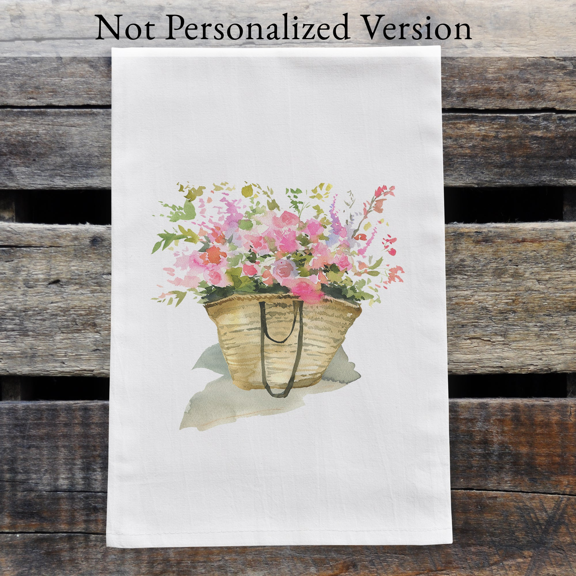 Personalized Wildflowers in Straw Market Bag Design Watercolor Design Flour Sack Tea Towel