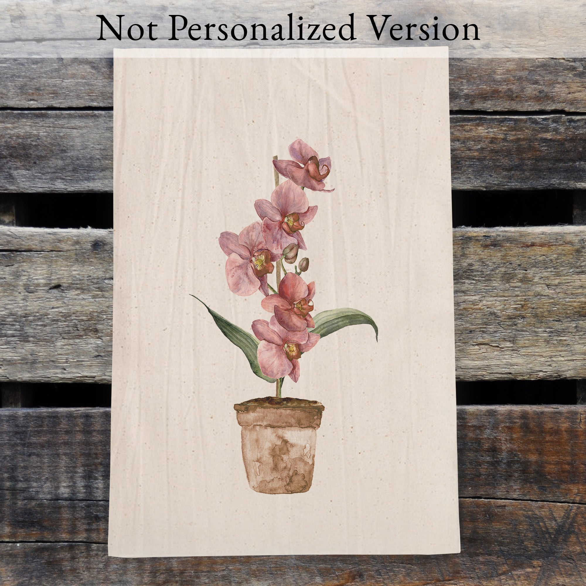 Personalized Pink Orchid Watercolor Design Flour Sack Tea Towel