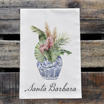 Load image into Gallery viewer, Personalized Tropical Flowers in Blue and White Chinoiserie Vase Watercolor Design Flour Sack Tea Towel
