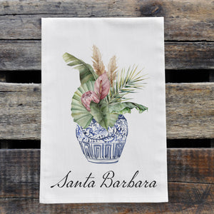 Personalized Tropical Flowers in Blue and White Chinoiserie Vase Watercolor Design Flour Sack Tea Towel