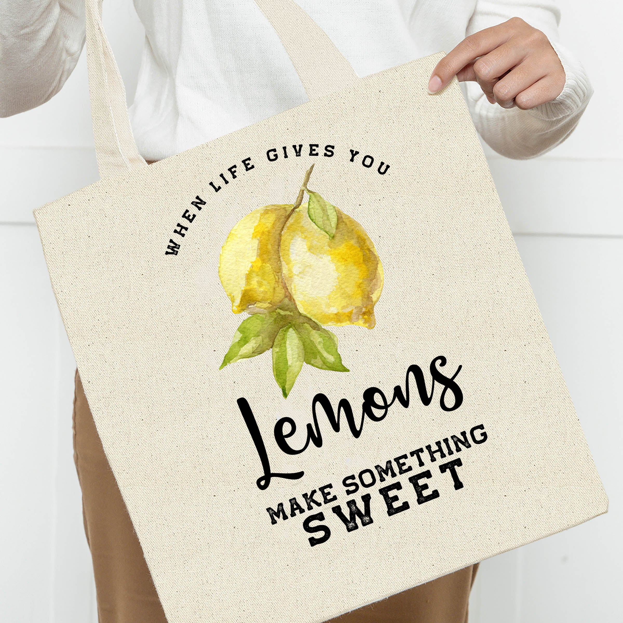 When Life Gives You Lemons Make Something Sweet Canvas Tote Bag