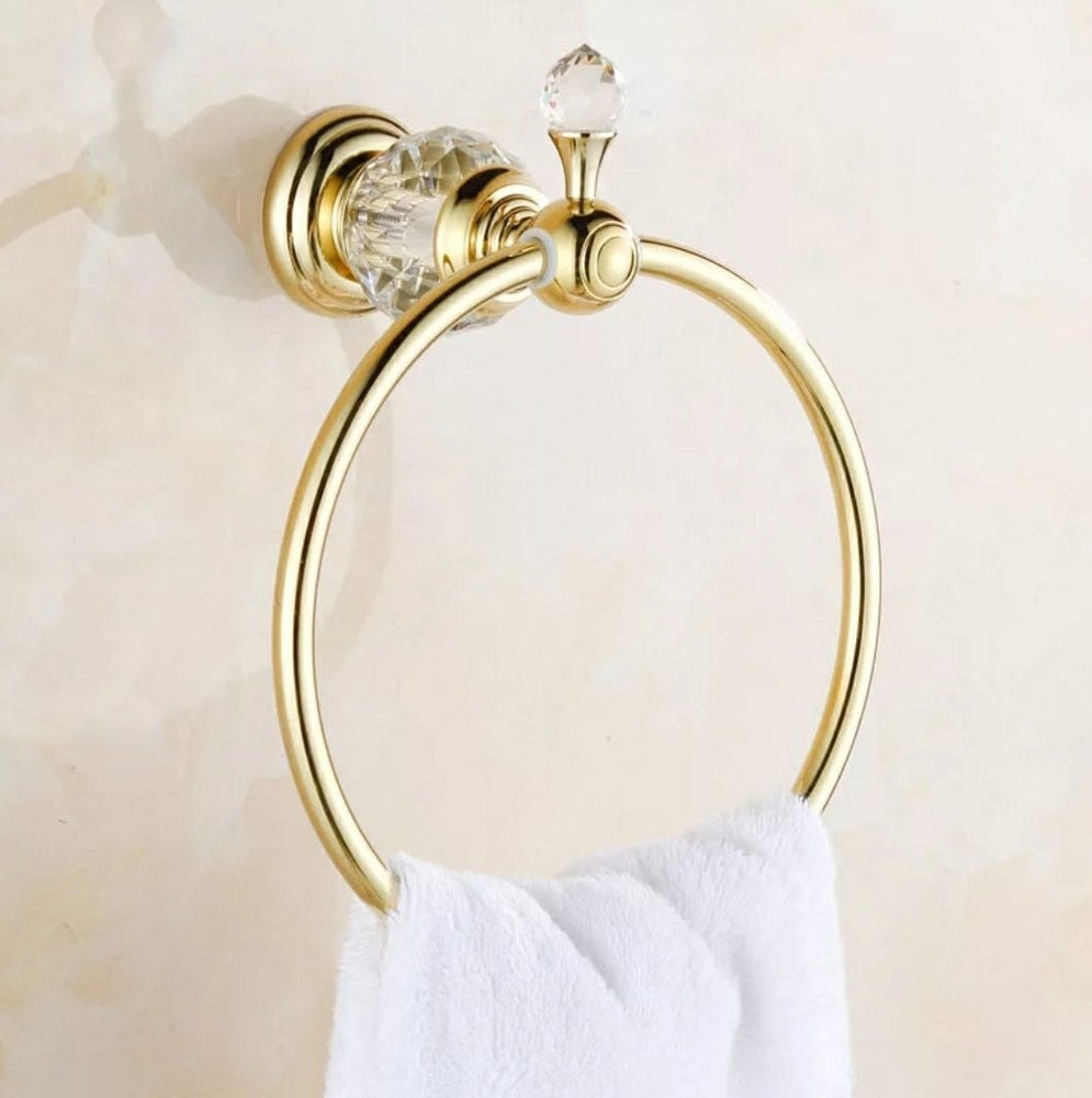 Luxury Crystal Brass Gold Towel Ring