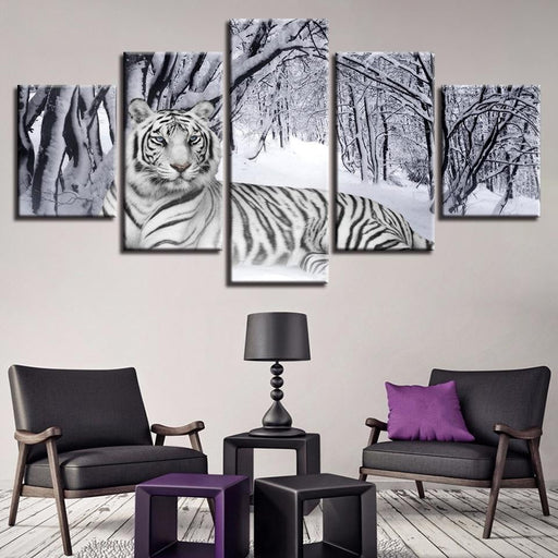 White Tiger Canvas Frame