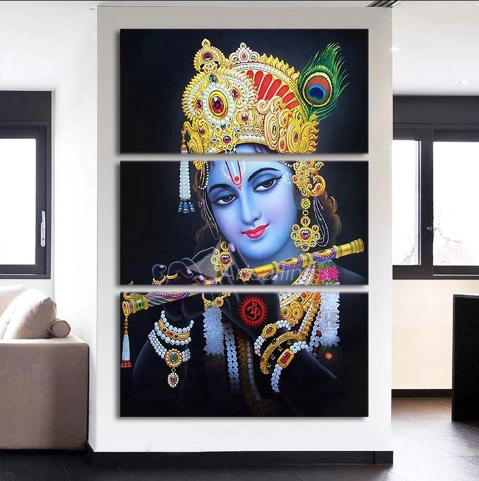Lord Krishna 3 Pcs canvas
