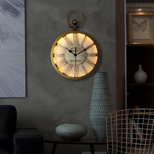 Vintage Wall Clock with Remote control for light