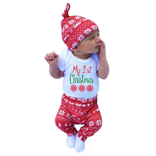 bc188b1d4395 3pcs Xmas set Newborn Baby Girls Boys My First Christmas Letter Print long  sleeve Tops Romper