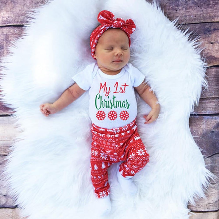 3pcs Xmas set Newborn Baby Girls Boys My First Christmas Letter Print long sleeve Tops Romper+Long Pants Hat Christmas Outfits Boughtit.ca  - Boughtit.ca