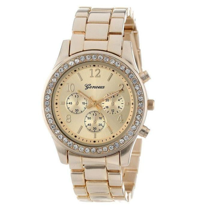Faux Chronograph Quartz Classic Round Ladies Women Crystals Watch Boughtit.ca Wrist watch - Boughtit.ca