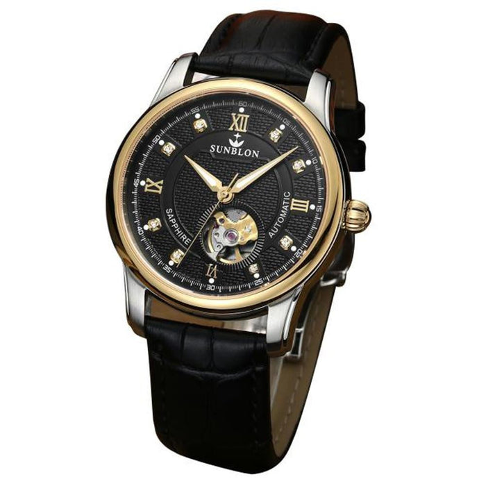 SUNBLON Water Resistant Men's Automatic Mechanical Watch With Leather Band