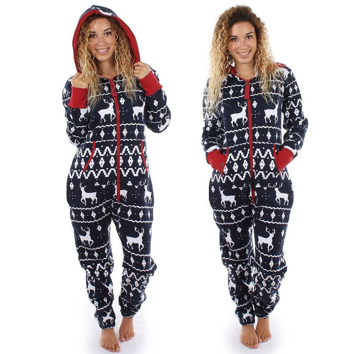 6341ca9efd Women Long Sleeve Ladies 3D Christmas Elk Printed Jumpsuit Pyjamas Nightwear