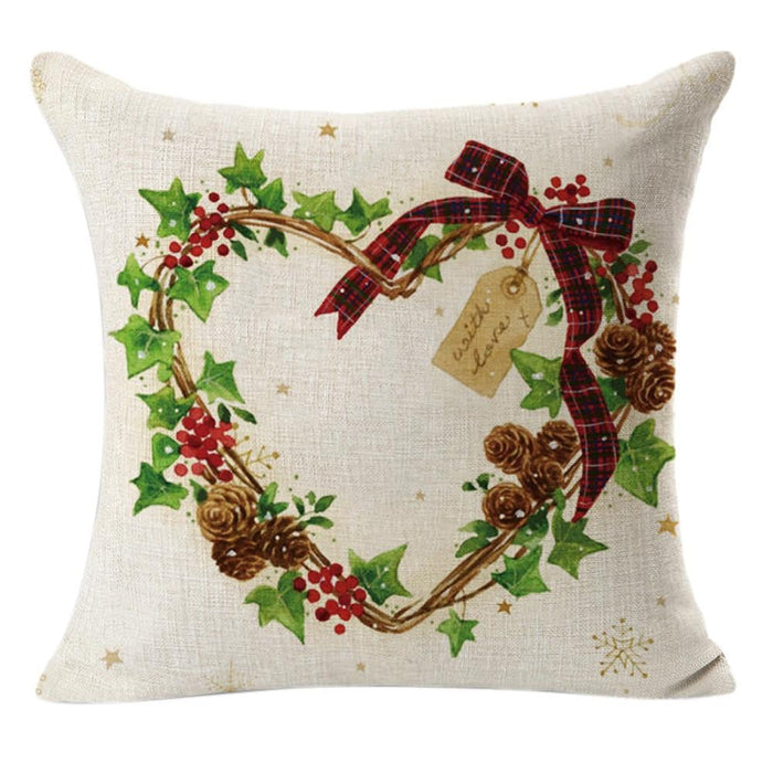 Christmas Linen Square Throw Flax Pillow Cover Boughtit.ca Home & Décor - Boughtit.ca