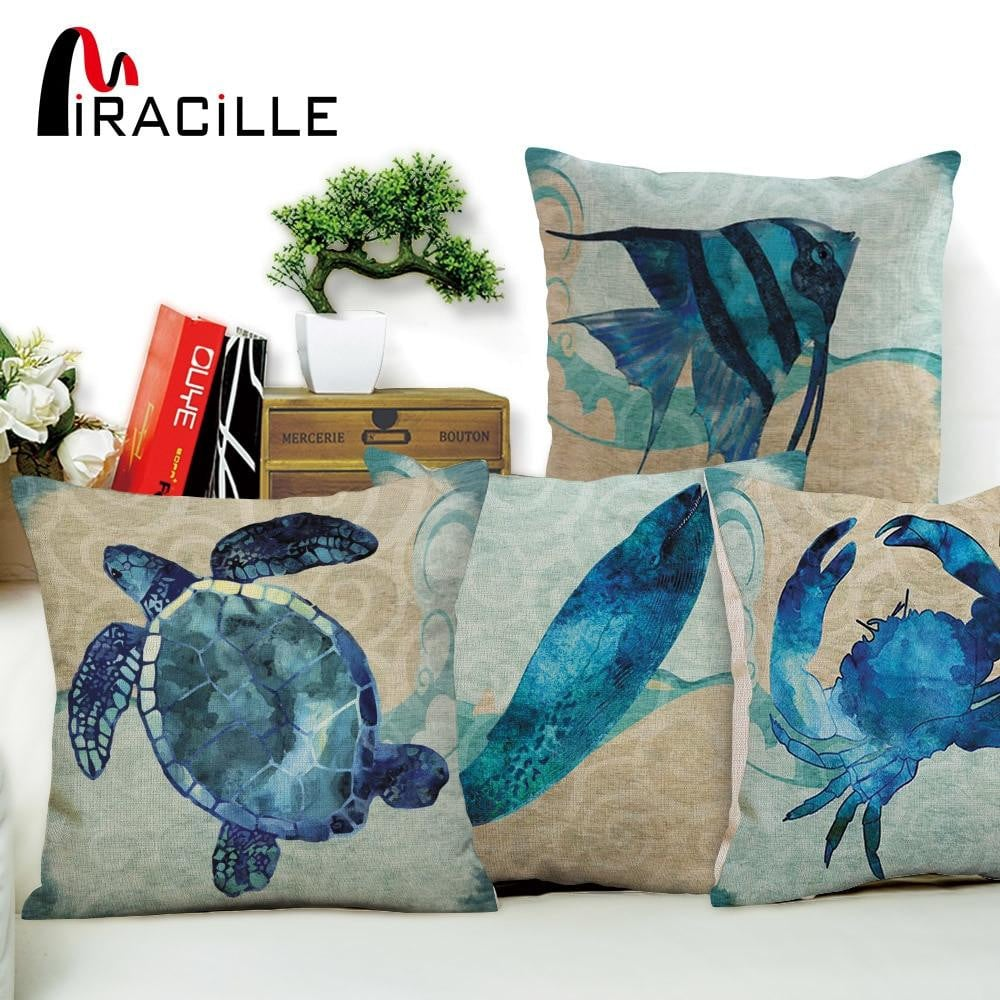Miracille Home Decor Blue Marine Turtle Octopus Sea Horse Jellyfish Pattern Throw Pillow Case Square Cotton Linen Cushion Cover