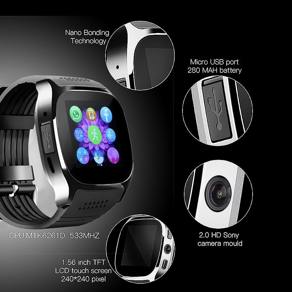 FORNORM T8 Bluetooth Smart Watch With Camera Music Player Facebook Whatsapp Sync SMS Smartwatch Support SIM TF Card For Android Boughtit.ca Wrist watch - Boughtit.ca