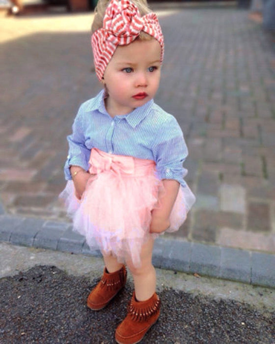 2Pcs Toddler Baby Girls Bow Striped Tops+Tutu Skirt Set Infant Outfits Clothes Boughtit.ca  - Boughtit.ca
