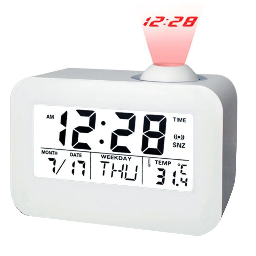 Sound Control Backlight Voice Report Night Light Projection Quiet Snooze LED Clock (English Version)
