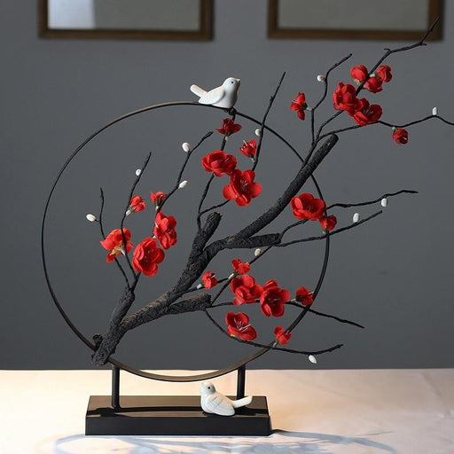 New Chinese Style Plum Tea Room Flower Bird Zen Lucky Ornament Home Furnishing Decoration Crafts Office Desktop Mascot Figurine