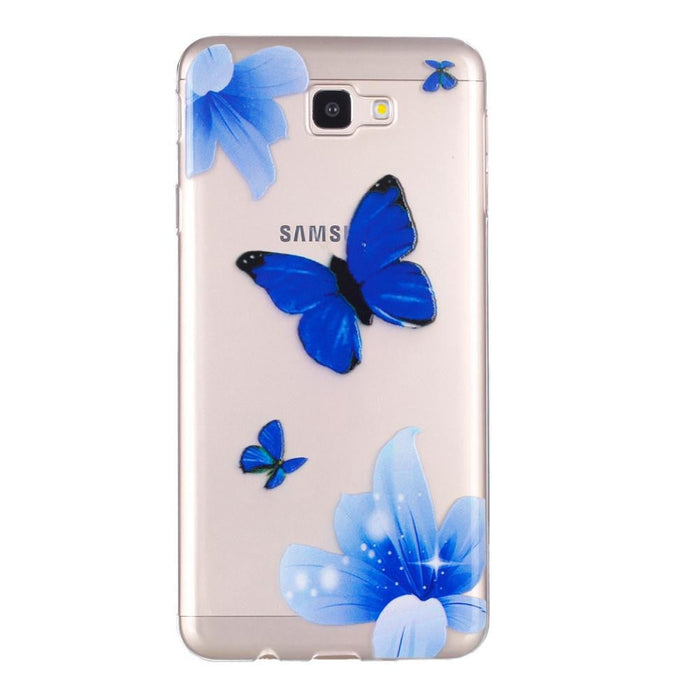 Phone Case Blue Butterfly Embossed Full-body Soft Drop Resistance Protective Phone Cover for Samsung