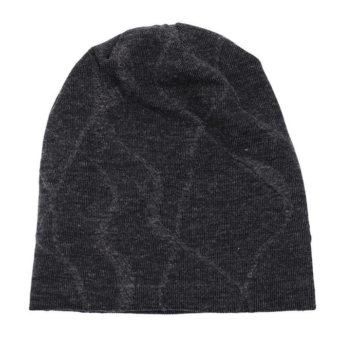 New Winter Fleece Hat Men Cotton Skullies Beanies Cap Fashion Male Knitted Beanie Geometric Print Hats Boys Knit Thick Warm Caps