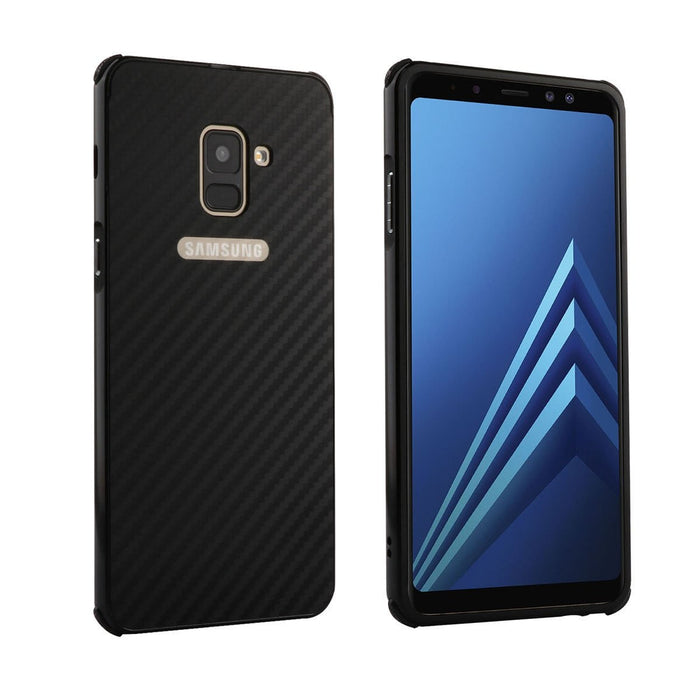 Carbon Fiber Phone Case Anticollision Silicone Corners Drop Resistance Metal Phone Shell Cover for Samsung A8 + 2018 Boughtit.ca Phone & Accessories - Boughtit.ca