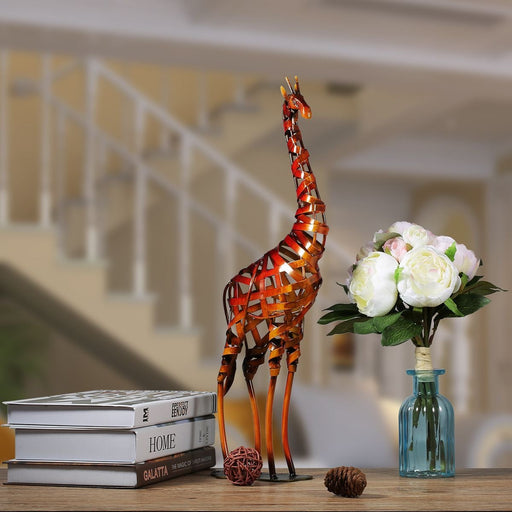 TOOARTS Environment-friendly Metal Sculpture Iron Braided Giraffe Model Home Room Decorative Articles Handicrafts Good Gift