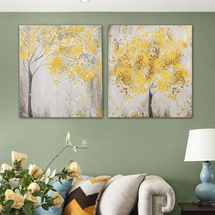 2Pcs 30x30cm Yellow Blossom Tree Canvas Pictures Hanging Wall Art Decor Unframed Boughtit.ca  - Boughtit.ca