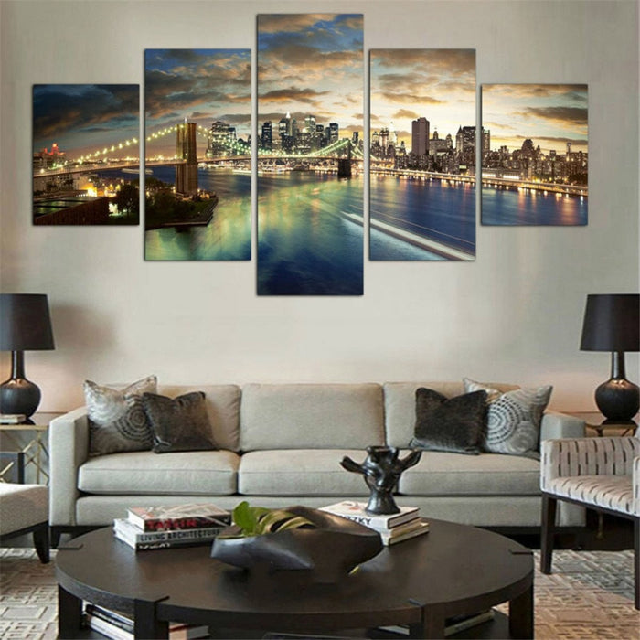 5PCS Panel Home Decor Wall Oil Painting New York City Night View Unframed Paint Boughtit