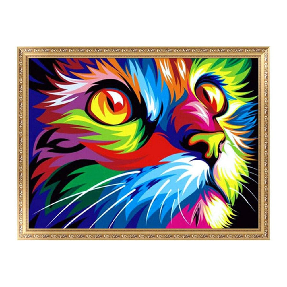 Colorful Cat 5D Diamond Paint DIY Painting Cross Stitch Home Wall Decor 40x50cm Boughtit.ca  - Boughtit.ca