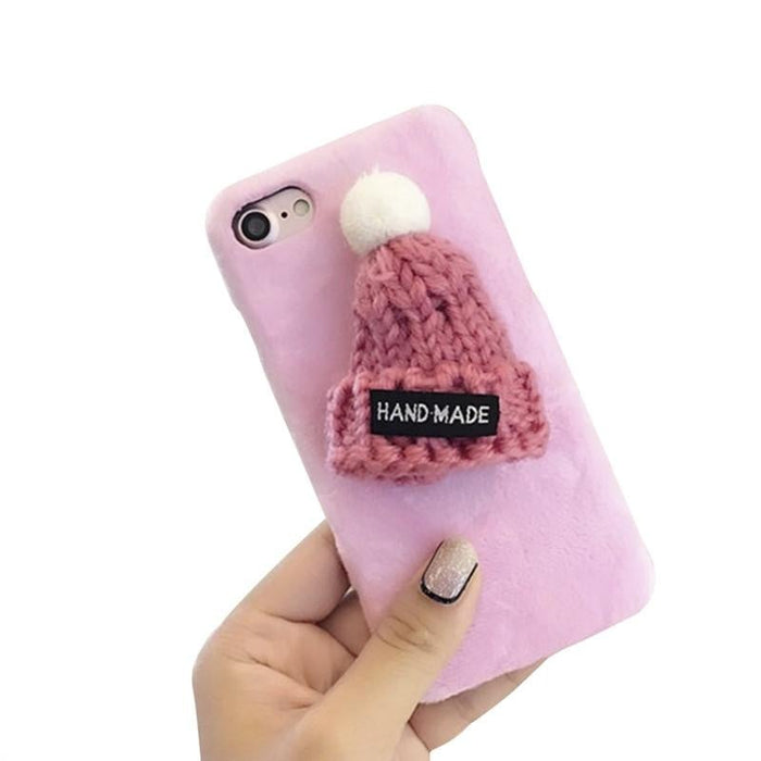 Winter Soft Warm Fluffy Phone Case Cover Cute Design with Wool Knitted Velvet Beanie Cell Phone Case for iphone 8 and iphone 7