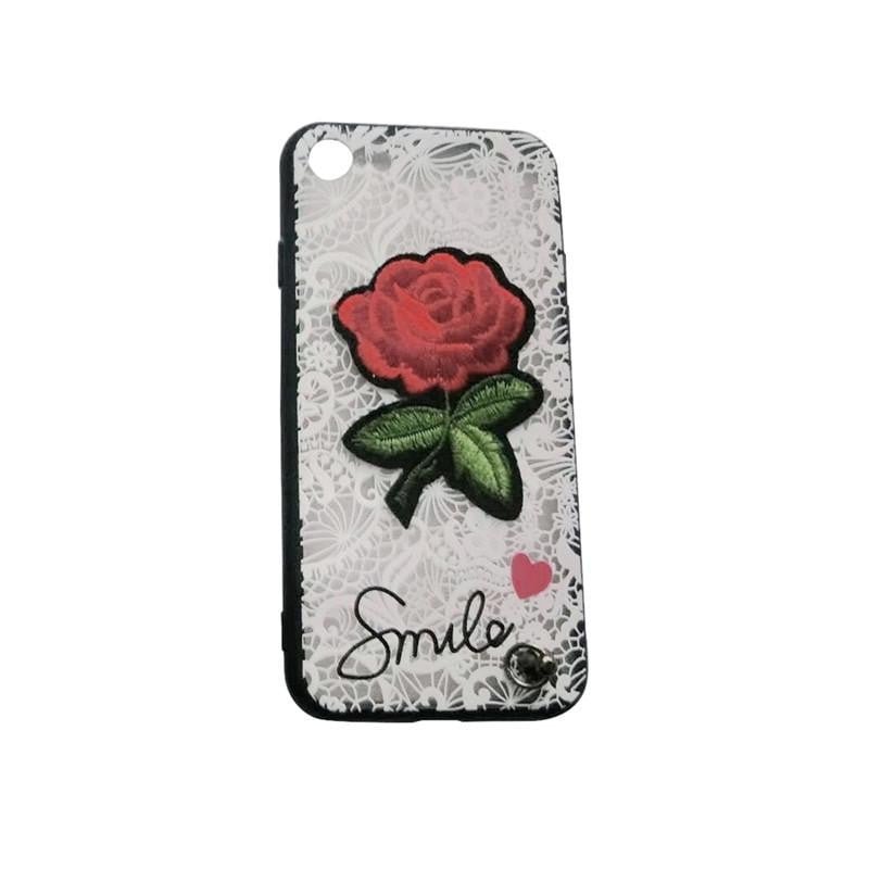 Embroidered Fashion Cell Phone Case for iPhone 8/ iPhone 7 (White Lace and Rose) Boughtit.ca Phone & Accessories - Boughtit.ca