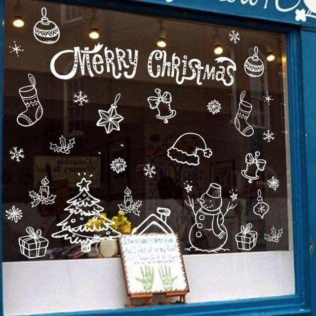Christmas Window Decals.Merry Christmas Snowflake Wall Stickers Home Showcase Windows Decals Decoration For Home Shop Glass Window Stickers