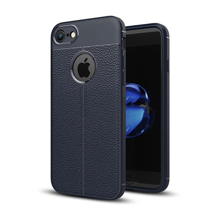 Litchi Pattern Non-slip Protective Cover TPU Back Case for iPhone 7/ iPhone 7s (Blue)