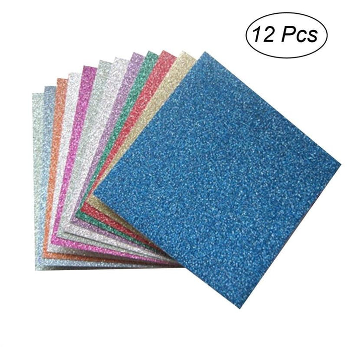 12 Sheets Glitter Origami Paper Square Sheets Vivid Colors for Arts and Crafts Projects Boughtit.ca  - Boughtit.ca