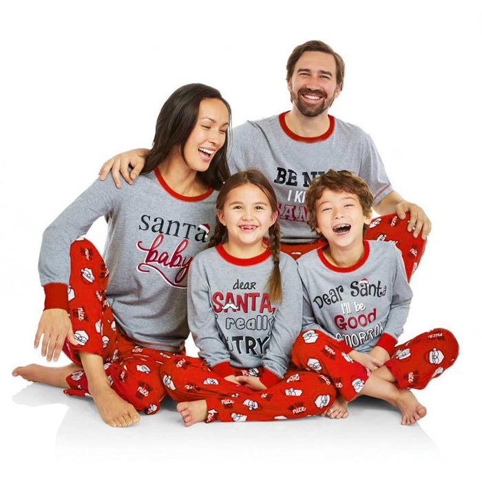 2PCS Christmas Daddy Long Sleeves Letter Print Top+Pants Family Clothes Pajamas Boughtit.ca Xmas - Boughtit.ca