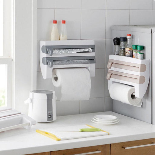 Multifunctional Kitchen rack - Holds kitchen towel, Foils, paper with cutter