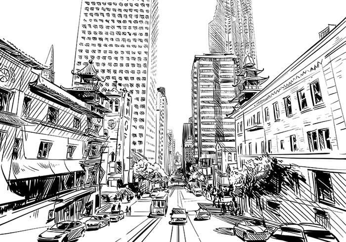 Hand Drawn City & Street Sketch Wallpaper Boughtit.ca  - Boughtit.ca